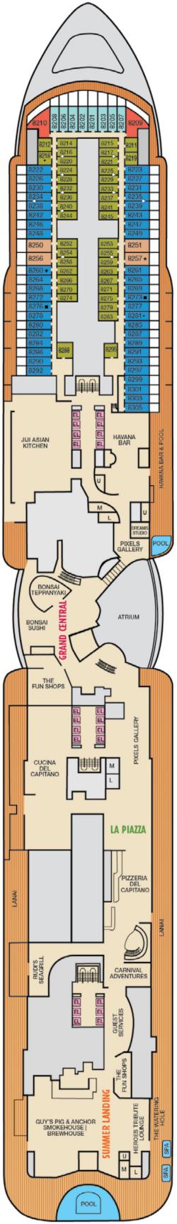 Mardi Gras Deck 8 Deck Plan