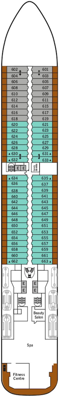 Silver Dawn Deck 6 Deck Plan