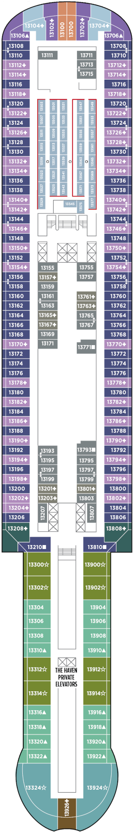 Norwegian Prima Deck 13 Deck Plan