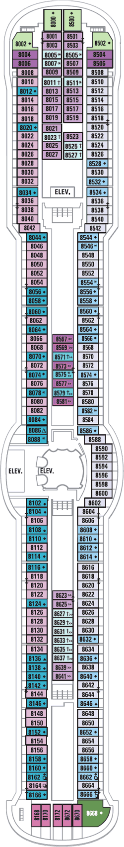 Radiance Of The Seas Deck Eight Deck Plan