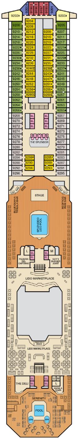 Carnival Splendor Lido Deck Deck Plan